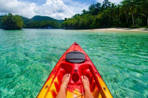 kayaking to secret beaches