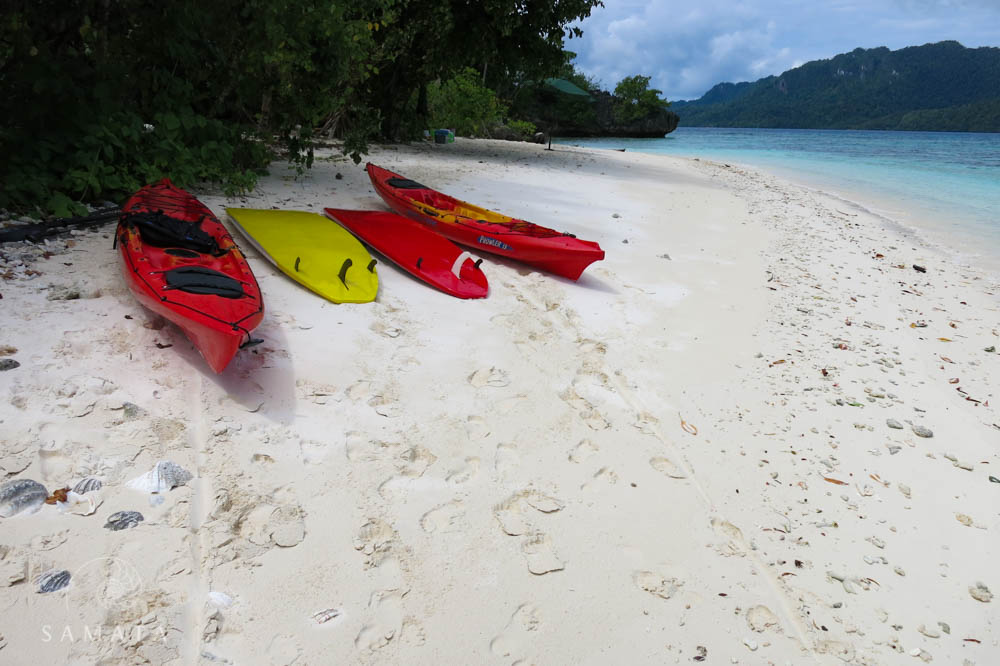 Kayaking to a sandy beach